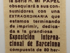1929 cigarette papers Insert, Barcelona - rear