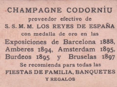 Card from series for Codorníu Champagne, back (43mm x 68mm)