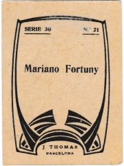 """Series 30 number 21 back """"Mariano Fortuny"""""""
