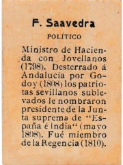 "Series 31 number 10 back ""F. Saavedra, Político"""