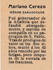 "Series 31 number 18 back ""Mariano Cerezo, Héroe zaragozano"""