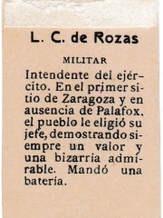 "Series 31 number 19 back ""L. C. de Rozas, Militar"""