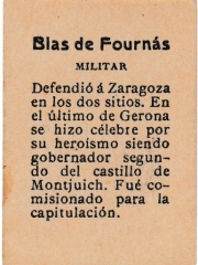 "Series 31 number 21 back  ""Blas de Fournás, Militar"""