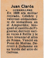 "Series 31 number 22 back ""Juan Clarós, Guerrillero"""