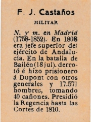 "Series 31 number 32 back ""F. J. Castaños, Militar"""