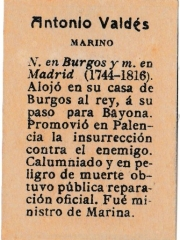 "Series 31 number 35 back ""Antonio Valdés, Marino"""
