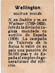 "Series 31 number 38 back ""Wellington, Militar Inglés"""