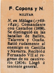 "Series 31 number 44 back ""F. Copons y Navia, Militar"""