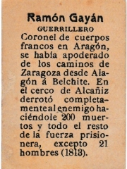"Series 31 number 53 back ""Ramón Gayán, Guerrillero"""