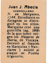 "Series 31 number 54 back ""Juan J. Abecía, Guerrillero"""