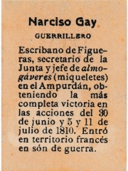 "Series 31 number 56 back ""Narciso Gay, Guerrillero"""