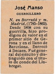 "Series 31 number 57 back ""José Manso, Guerrillero"""