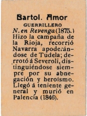 "Series 31 number 60 back ""Bartol. Amor, Guerrillero"""