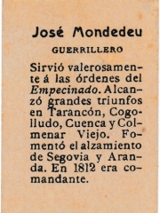 "Series 31 number 61 back ""José Mondedeu, Guerrillero"""