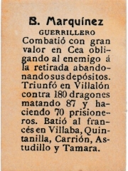"Series 31 number 62 back ""B. Marquínez, Guerrillero"""