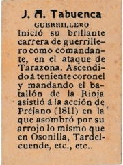 "Series 31 number 63 back ""J. A. Tabuenca, Guerrillero"""