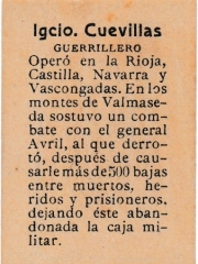 "Series 31 number 64 back ""Igcio. Cuevillas, Guerrillero"""