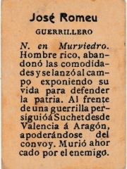 "Series 31 number 65 back ""José Romeu, Guerrillero"""