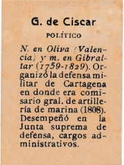 "Series 31 number 9 back ""G. de Ciscar, Político"""