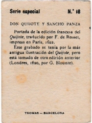 """Special Series number 18 back """"Don Quijote y Sancho Panza"""""""