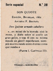"""Special Series number 28 back """"Don Quijote armado caballero"""""""